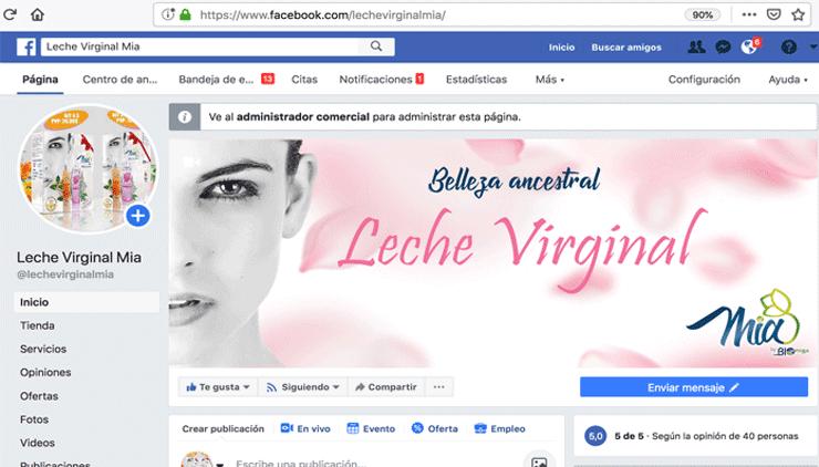 Leche Virginal Mia redes